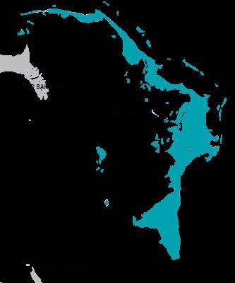 Map of Abaco island, Bahamas