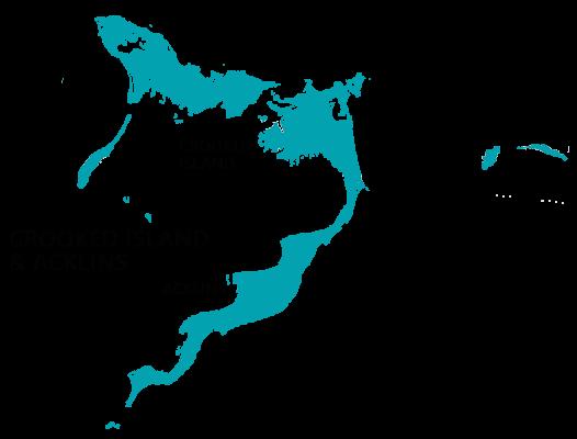 Map of Crooked Island & Acklins, Bahamas