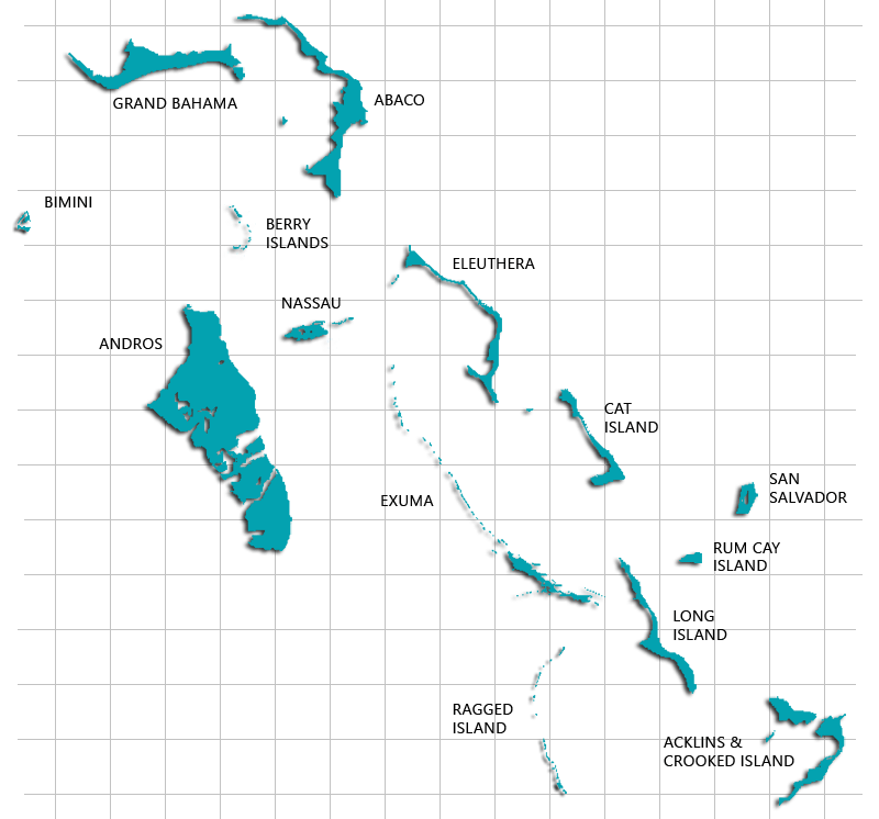Illustrative map of the Bahamas