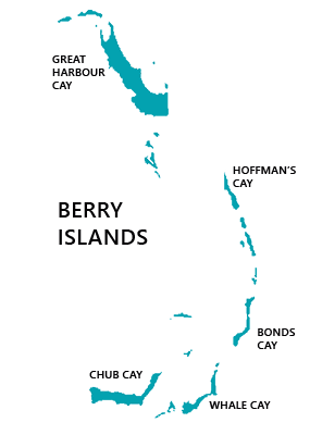 Map of Berry Islands, Bahamas