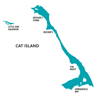 Map of Cat Island, Bahamas