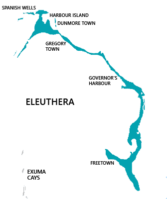 Map of Eleuthera, Bahamas