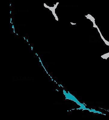 Map of The Exumas, Bahamas
