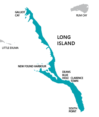 Map of Long Island, Bahamas