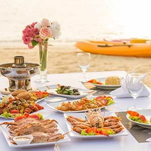 Lunch on a beach during a yacht charter