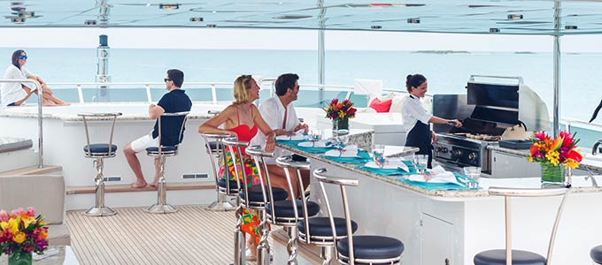 A luxury yacht charter offers full entertainment and comfort.